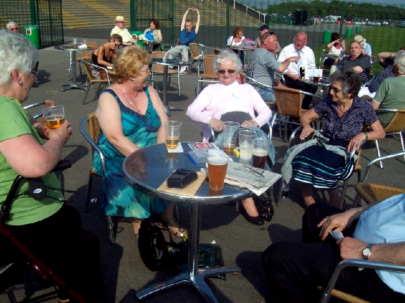 Mary, Ann, Winnie and Hilda relaxing on a lovely, sunny day at Haydock Races with Knowsley Carers Centre