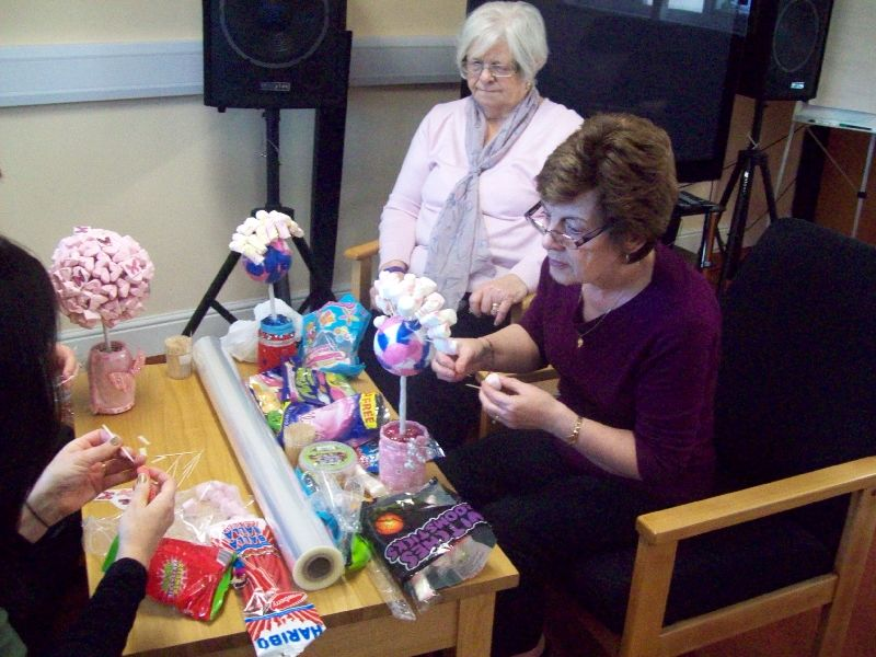 Our Monday Craft Group making Sweet Trees...... and chatting of course!!